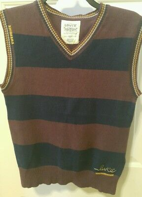 Levi's boy's cotton striped sweater vest, 12/14