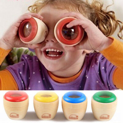 Baby Lovely Magical Kaleidoscope Toys Polygonal Mirror Wooden Toy Cute Vision