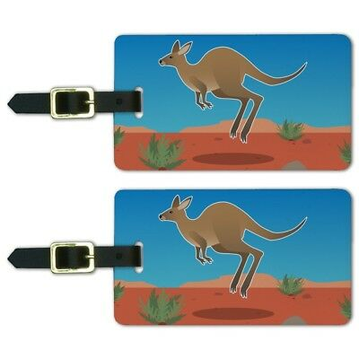 Kangaroo Hopping in the Australian Outback Luggage ID Tags Cards Set of 2