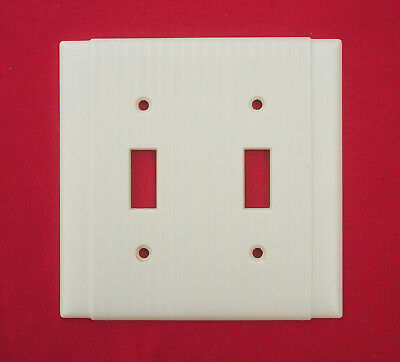 Vintage Leviton  Ribbed Double Switch Plate Ivory Cover