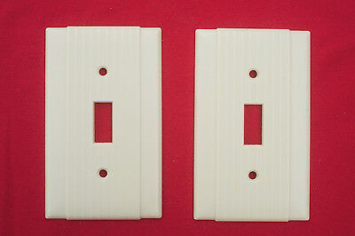 2 Vintage  Uniline Ribbed Switch Plate Ivory Covers