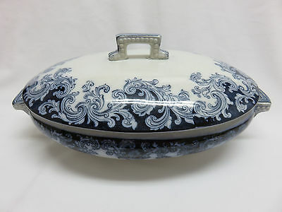 Antique 1800's England Flow Blue Transferware Oval Pottery Covered Casserole