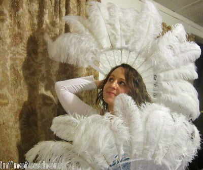 Set of Two Burlesque Fans White Ostrich Feather Fans Sally Rand
