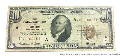 Boston Massachusetts 1929 Ten Dollar $10 Note National Currency Bill Hamilton