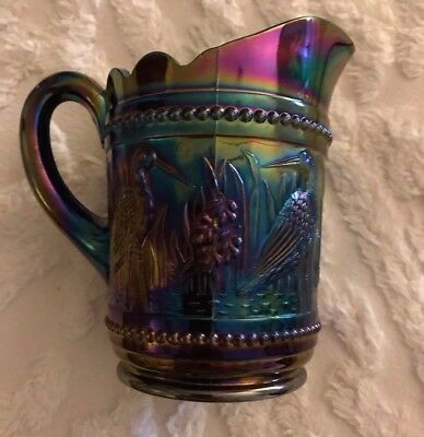 LG Wright Carnival Glass Storks and Rushes Beaded Creamer