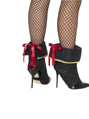 Pirate Boot Covers Lace Up Black With Red Bow Fancy Dress Accessory Gold