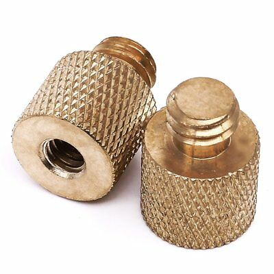 """Standard 1/4""""-20 Female to 3/8""""-16 Male Threaded Reducer Screw Adapter Brass 2"""