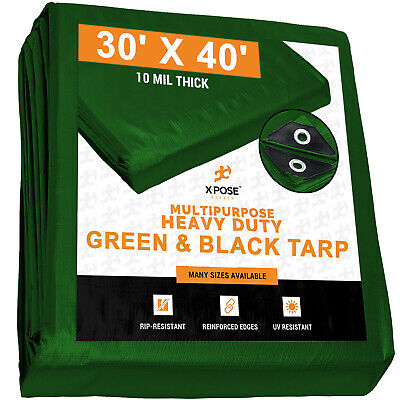 30' x 40' Heavy Duty Green/ Black Poly Tarp Water Proof Cover Tent RV Tarpaulin