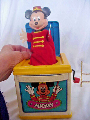 1987 Mickeyi Mouse Musical Wind-Up  Jack In The Box Mattel Mexico