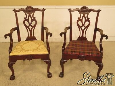 43915EC: Pair KITTINGER D2125 Ball & Claw Chippendale Mahogany Arm Chairs