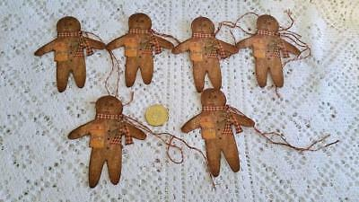 Christmas~Primitive~Gingerbread Man~Grungy~Linen Cardstock~Gift~Hang~Tags~Ornies