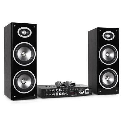 DJ MUSIK ANLAGE SET AMP BOXEN 2x MIKRO KAROAKE PARTY BESCHALLUNG BLUETOOTH MP3