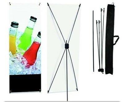 """USED 24""""x63"""" X Type Banner Stand Foldable Tripod Sign Holder w/ Bag Trade Show"""