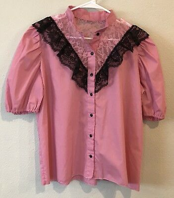 Handmade Womens Square Dance Polka Shirt Pink Black Lace Button Front Size XL