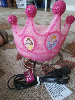 "Large Disney Princess Crown Shaped Childrens Room Lamp Night Light 7.5""T x 6""W"