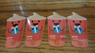 """(4) 2018 Wendy's """"FREE FROSTY EVERY VISIT"""" key tag card"""