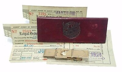 1920s Loyal Order of the Moose Membership Dues Cards Idiots Club Money Clip Lot