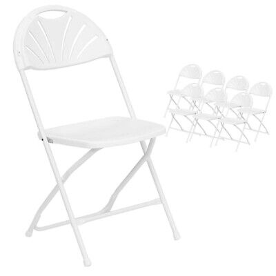 8 Commercial Plastic Folding Chairs White Fan Back Seat Party Wedding Chair