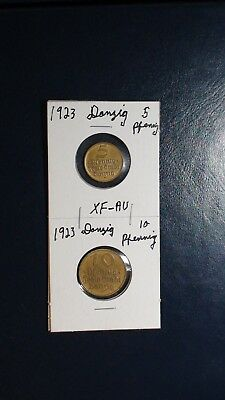 1923 Germany DANZIG 5 & 10 PFENNIG 2 RARE COINS Auction Starts At 99 Cents!