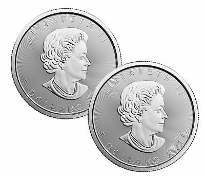 Lot of 2 - 2018 $5 1oz Canadian Silver Maple Leaf Coins .9999 Fine BU