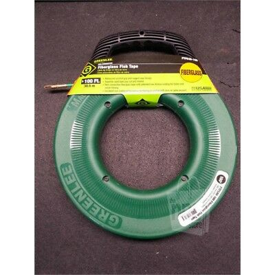 "Greenlee FTF540-100 100ft Fiberglass Fish Tape With Case, 3/6"" Thick, Fiberglass"