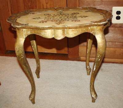 "Vtg ITALIAN FLORENTINE Hollywood Regency Side Table 21.5""X16""X19"" Oval"
