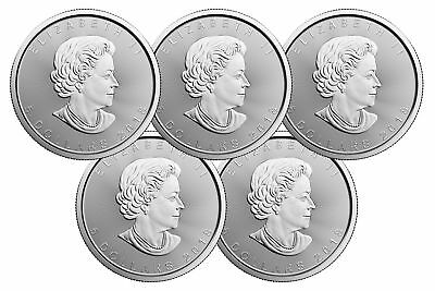 Lot of 5 - 2018 $5 1oz Canadian Silver Maple Leaf Coins .9999 Fine BU