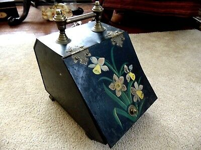 Antique 1880 Floral Hand Painted Victorian Coal Scuttle Bucket Fireplace Ash Bin