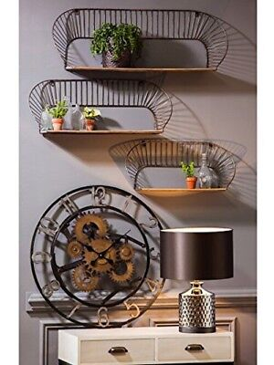 Cape Craftsmen Industrial Twisted Metal and Wood Wall Shelves, Set of 3