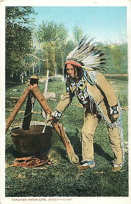 American Native Canadian Indian Life Iroquois Chief cooking food