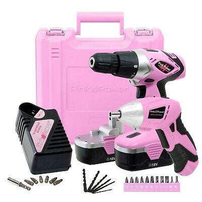 Pink Power PP1848K NiCad 18 Volt Cordless Drill Driver & Electric Screwdriver