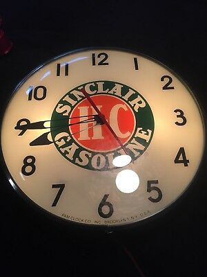 Vintage Pam Lighted Electric Ad Wall Clock Light Up Sinclair Gasoline
