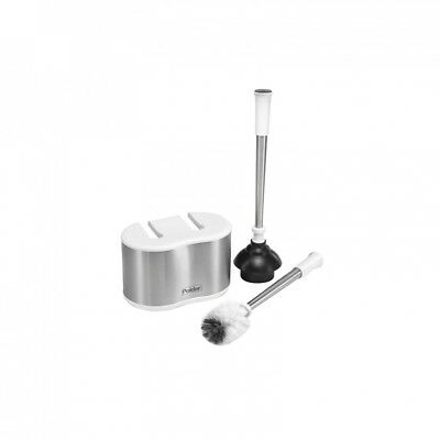 Stylish Silver Stainless Steel Dual Holder Caddy Set With Toilet Brush & Plunger