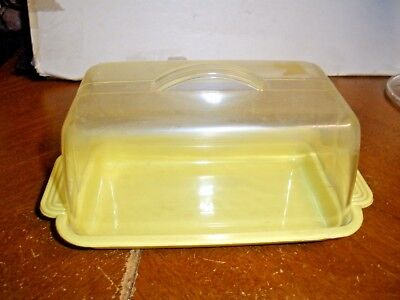 Vintage Lustro Ware Plastic Butter Cream Cheese Dish Lidded Yellow mid century