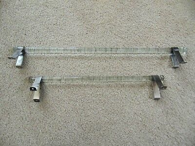 "Antique Vintage 24"" And 18"" Glass Towel Bars w/ Nickel Mounting Brackets c1910"