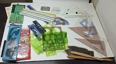 Vintage 29 Piece Lot of Engineering, Architectural Drafting Tools and Templates