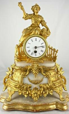 Antique French 19th c Figural gilt & white marble 8 day Mantle Clock & base