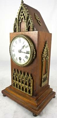 Antique 19thc French Cathedral style 8 day mantle clock lovely brass attachments
