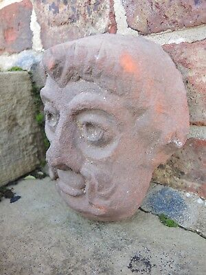 Old Small Terracotta Garden Wall Plaque  Terracotta Mask of Man (1116)
