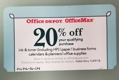 Office Depot Office Max 20% Off Coupon exp. 1/29/18
