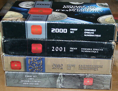 2000-2003 Canada Silver Proof Sets - Boxes & Coas 4 Sets Total