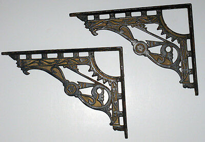 "Pair of shelf brackets deco original paint Gold&Black Vintage Antique 8""x6"" Gilt"