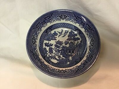 """Lot of 2 - CHURCHILL BLUE WILLOW SALAD/CEREAL BOWL 6"""" - EUC - Made in England"""
