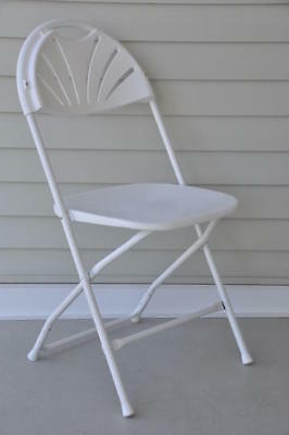 16 Commercial Plastic Folding Chairs White Stackable Wedding Party Fanback Chair