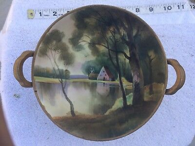"Vintage Hand Painted Nippon Bowl with handles Collectible antique green ""M"" mark"
