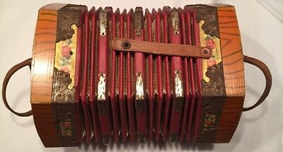 Antique Wood Leather Metal Accordian Instrument Concertina Squeeze Box German