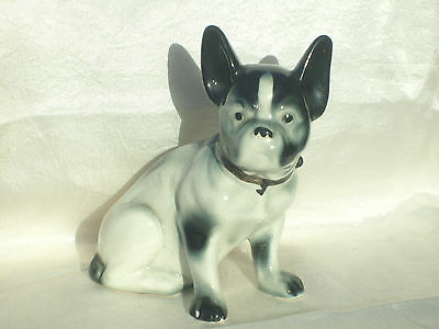 "Vintage 7"" Porcelain French Bulldog Statue ~ White & Black ~ Heavy"