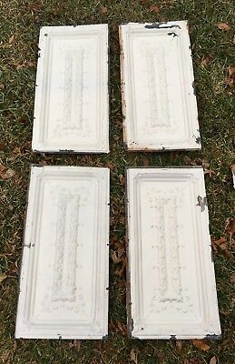 Antique Vtg White Shabby Chic Tin Metal Ceiling Tile Panel flor de lis lot of 4