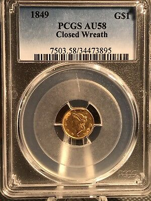 1849 Gold Dollar Closed Wreath PCGS AU58 No Reserve!  34473895