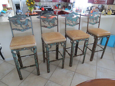 Vintage unique set of four western style bar stools